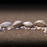 boulders rocks landscaping 3d model