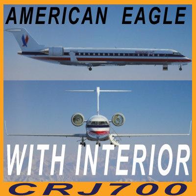 crj 700 american eagle 3d 3ds