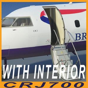 3d model crj700 british airways interior