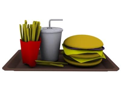 fast food hamburger 3d model