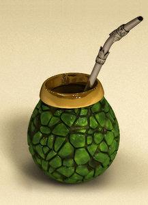 3d model straw bombilla mate cup
