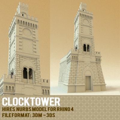 clocktower rhinoceros 3d model