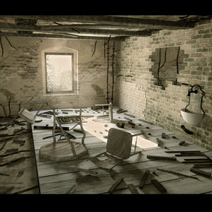 3d old ruined interior