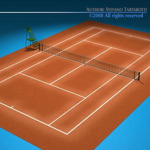 3d tennis field model