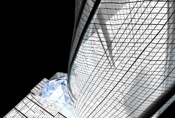 c4d glass skyscraper twisted