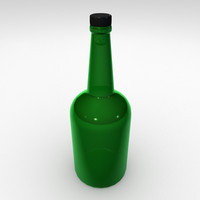 3d model green glass bottle