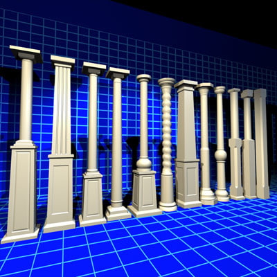 wooden post 01 wood architecture 3d model