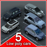 5 low poly SUVs