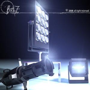 3d model stage light set 2