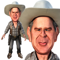 3d caricature george w bush model