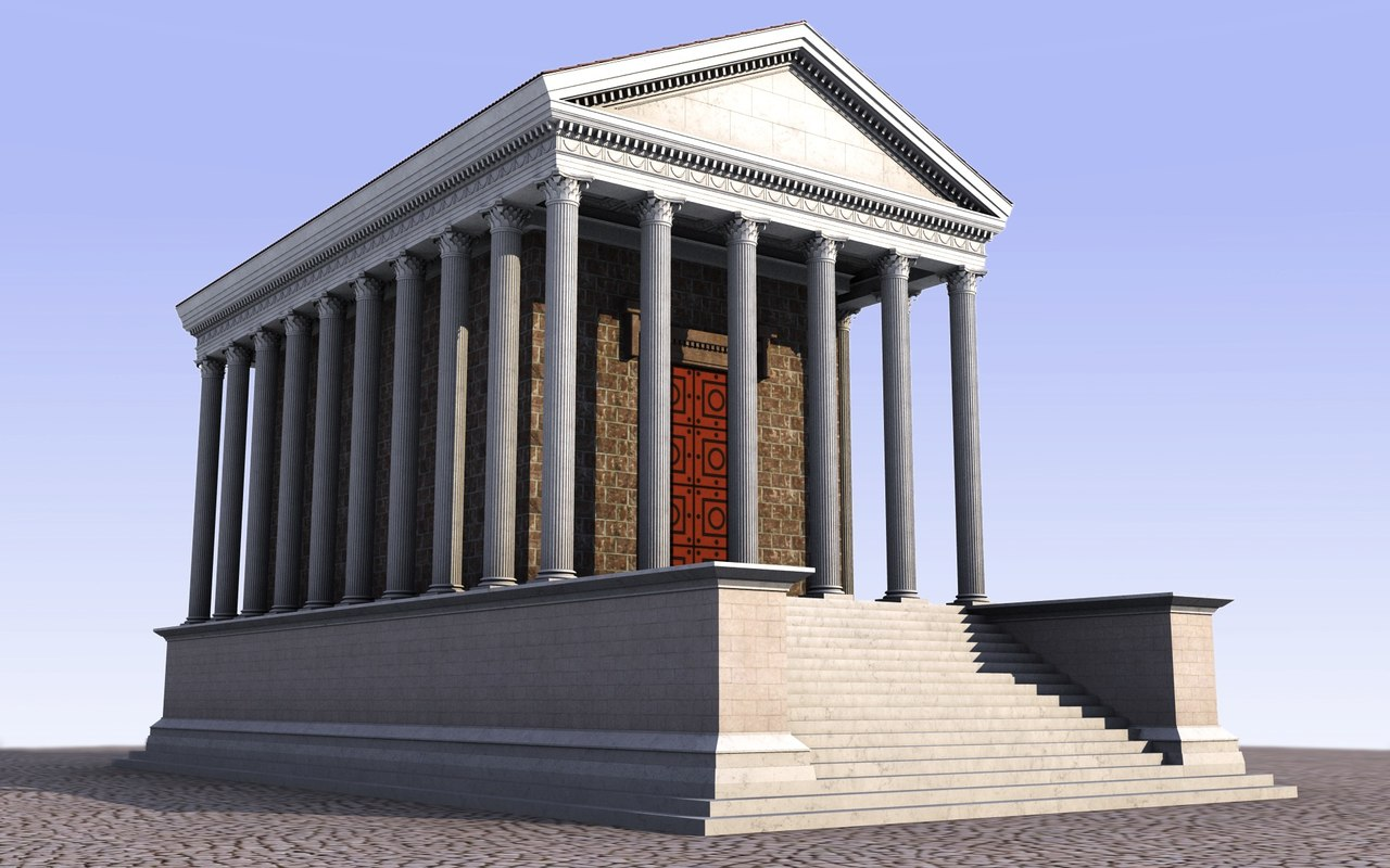 ancient roman temple obj