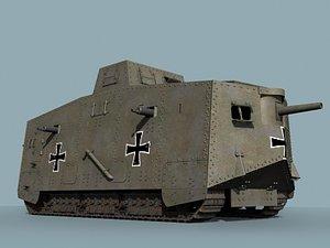wwi german tank a7v 3d model