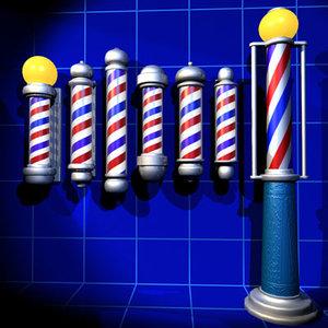 3d barber poles 01 model