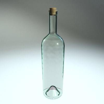 clear glass bottle c4d