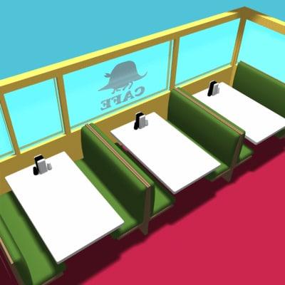 diner booths 3d 3ds