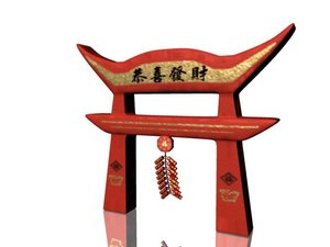 3d model chinese gate firecrackers