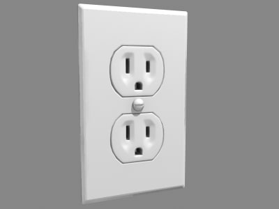 3d model wall outlet power