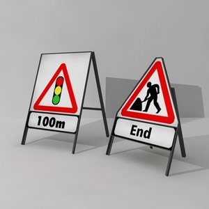 3d signs temporary roadworks