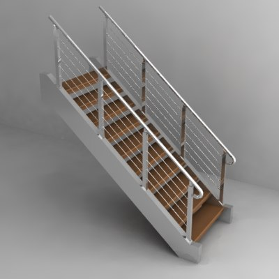 3ds max stairs rail