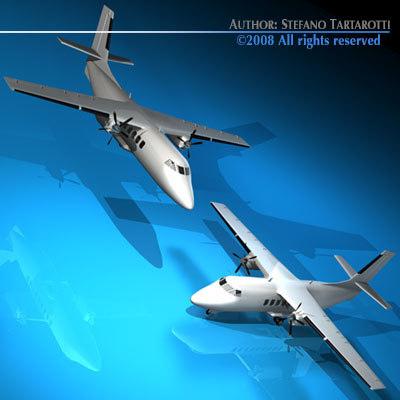 3d turboprop twin engine plane model