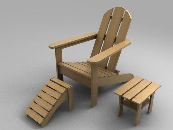 3d adirondack furniture chair table