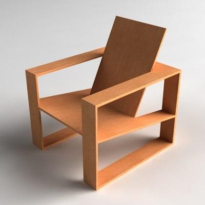 modern wooden lounge chair 3d model