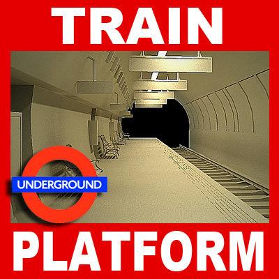 london underground station platform 3d model