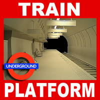 london underground station platform 3d model