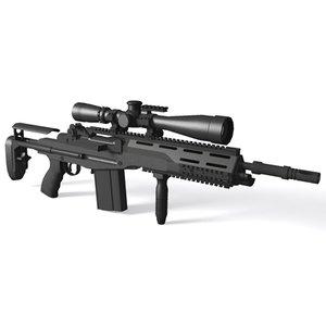 3d m14 sopmod rifle battle model
