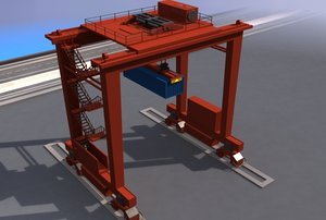 3d model rtg container crane