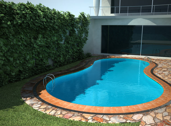 3ds max villa pool