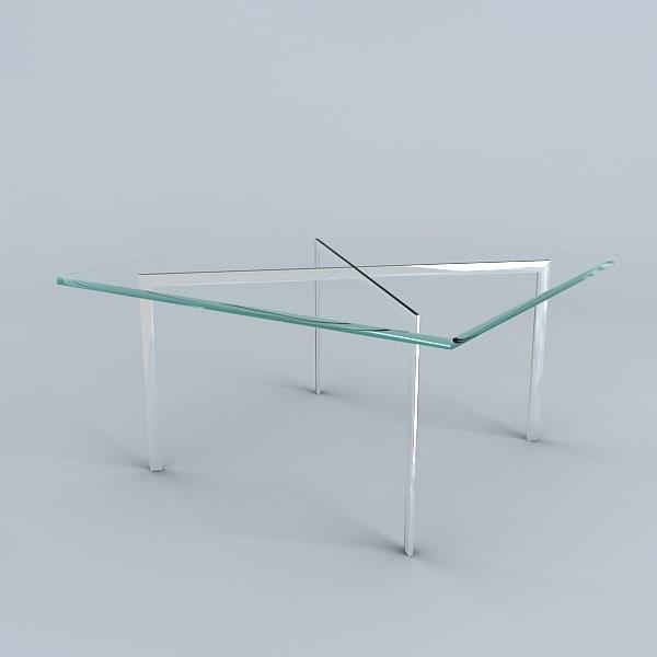 3d model barcelona table mies van