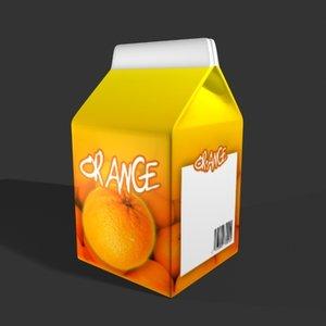 3d fruit juice carton model