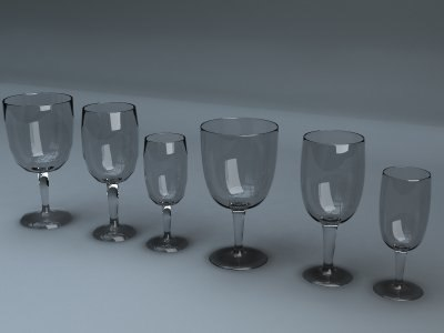 3d model cups wine beer