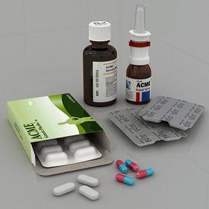 medicine pills capsules 3ds