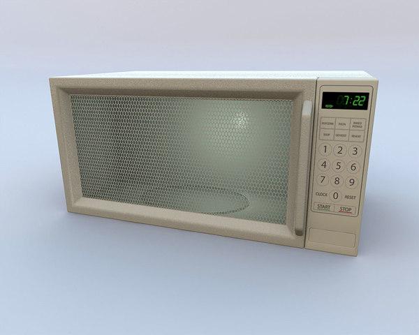 3d microwave oven door opens