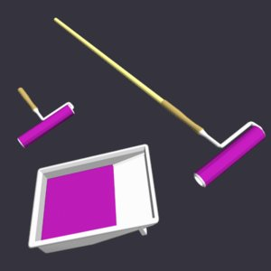 3d paint rollers tray model