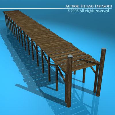 wood pontoon 3d model