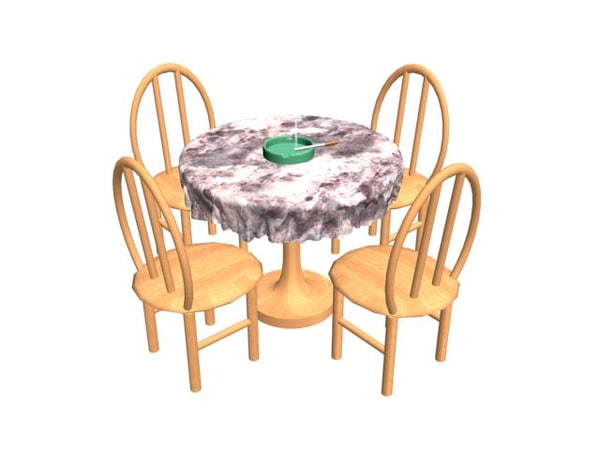 free table chairs 3d model