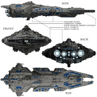 huge space cruiser allied 3d obj