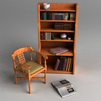 armchair bookshelf r8 3d model