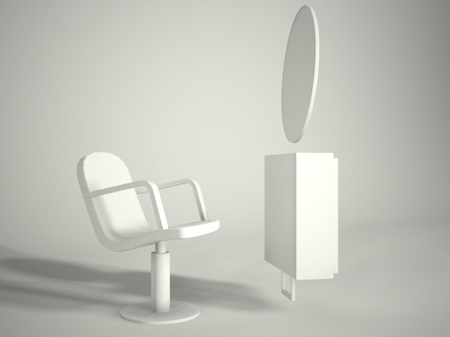 3d model hair cutting station