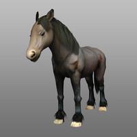 3d friesian horse