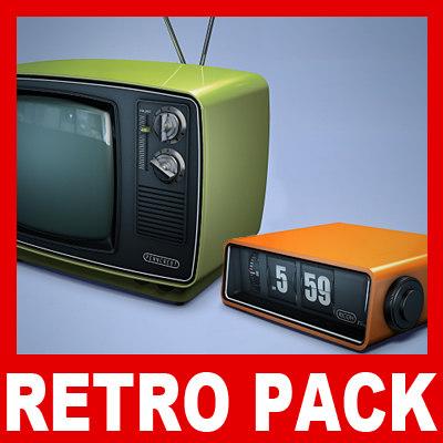 dxf retro tv flip clock