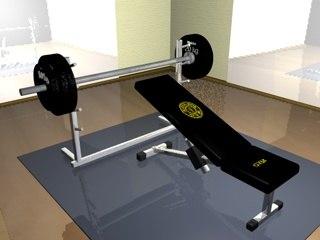 3d bench press gym model