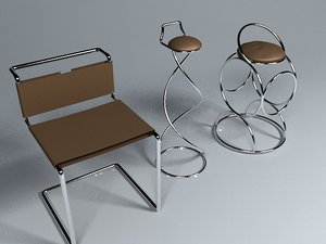 chairs stool leather 3d max