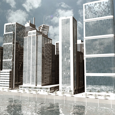 3d model waterfront cityscape