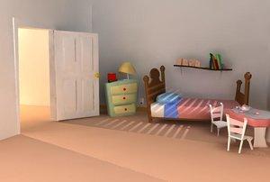 maya cartoonish girl bedroom