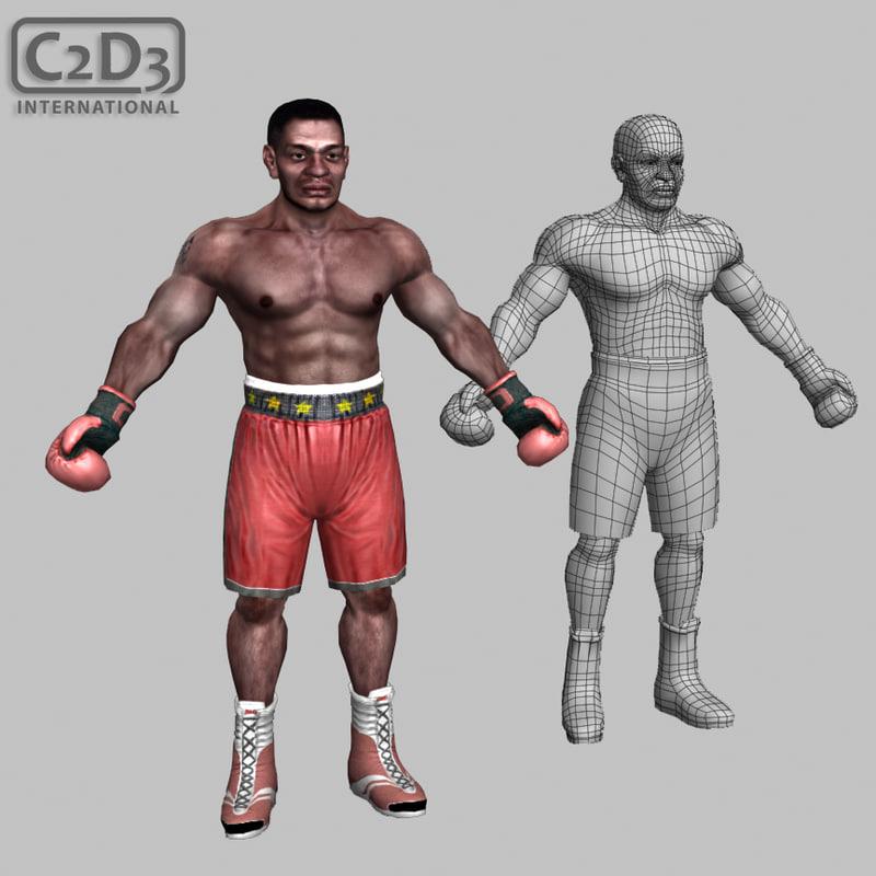 boxer male athlete 3d x