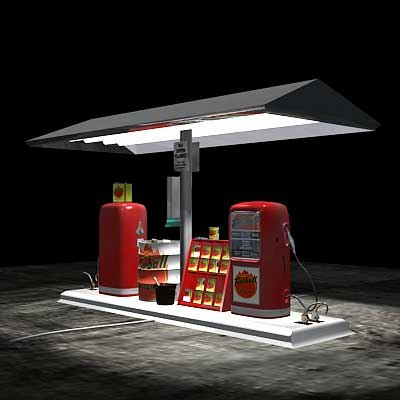 gas pump island 3d lwo